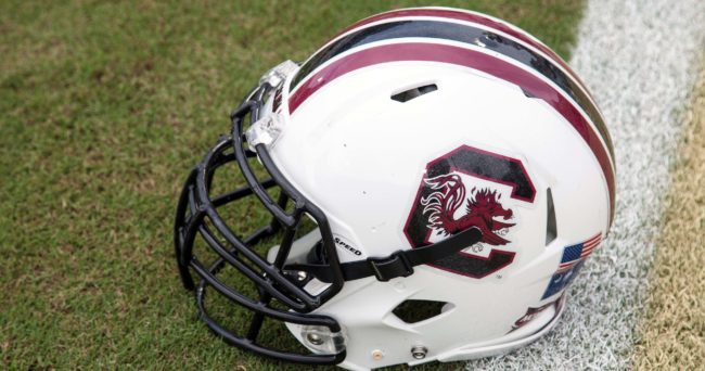 Sep 28, 2013; Orlando, FL, USA; A South Carolina Gamecocks helmet sits on the field before the game against the UCF Knights at Bright House Networks Stadium. Mandatory Credit: Rob Foldy-USA TODAY Sports