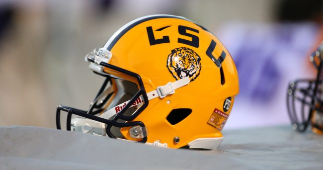 Oct 19, 2013; Oxford, MS, USA; LSU Tigers helmet during the game against the Mississippi Rebels at Vaught-Hemingway Stadium. Mississippi Rebels defeat the LSU Tigers 27-24.  Mandatory Credit: Spruce Derden-USA TODAY Sports