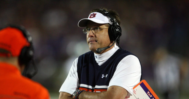 Sep 18, 2014; Manhattan, KS, USA; Auburn Tigers head coach Gus Malzahn looks at the scoreboard during a 20-14 win against the Kansas State Wildcats at Bill Snyder Family Stadium. Mandatory Credit: Scott Sewell-USA TODAY Sports