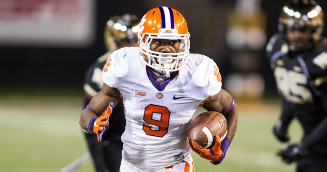 Nov 6, 2014; Winston-Salem, NC, USA; Clemson Tigers wide receiver Demarre Kitt (8) runs the ball for a touchdown during the fourth quarter against the Wake Forest Demon Deacons at BB&T Field. Clemson defeated Wake Forest 34-20. Mandatory Credit: Jeremy Brevard-USA TODAY Sports