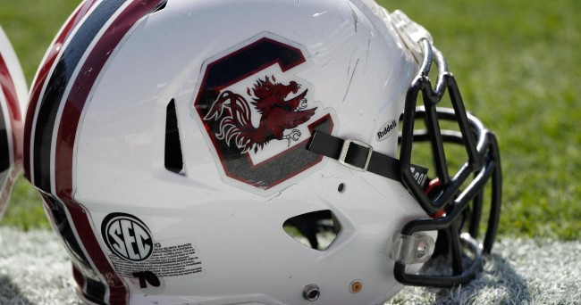 Nov 15, 2014; Gainesville, FL, USA; South Carolina Gamecocks helmet lays on the field prior to the game against the Florida Gators at Ben Hill Griffin Stadium. Mandatory Credit: Kim Klement-USA TODAY Sports