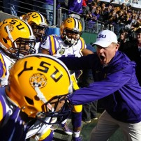 Dec 30, 2014; Nashville, TN, USA; LSU Tigers head coach Les Miles prior to the game against the Notre Dame Fighting Irish in the Music City Bowl at LP Field. Mandatory Credit: Christopher Hanewinckel-USA TODAY Sports