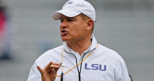 Apr 5, 2014; Baton Rouge, LA, USA; LSU Tigers head coach Les Miles during the 2014 spring game at Tiger Stadium. Mandatory Credit: Derick E. Hingle-USA TODAY Sports