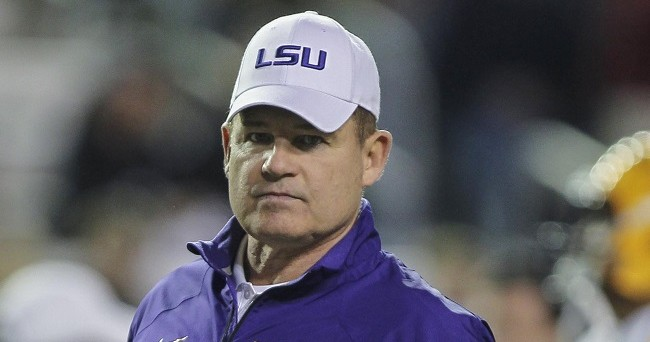 Nov 27, 2014; College Station, TX, USA; LSU Tigers head coach Les Miles before a game against the Texas A&M Aggies at Kyle Field. Mandatory Credit: Troy Taormina-USA TODAY Sports