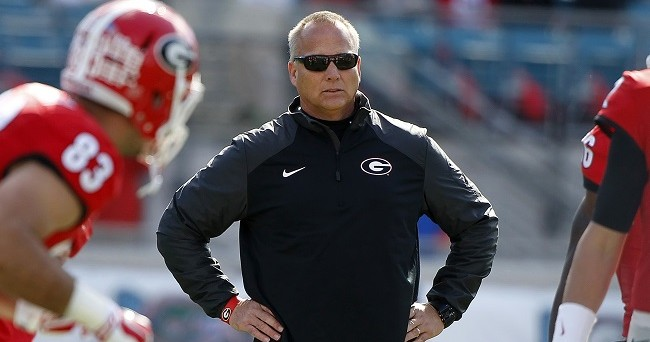 Nov 1, 2014; Jacksonville, FL, USA; Georgia Bulldogs head coach Mark Richt against the Florida Gators works out prior to the game at EverBank Field. Mandatory Credit: Kim Klement-USA TODAY Sports