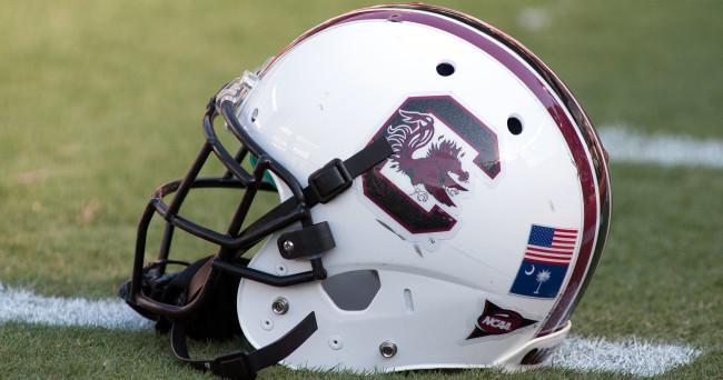 Aug 28, 2014; Columbia, SC, USA; A South Carolina Gamecocks helmet lays on the field prior to the start of the game against the Texas A&M Aggies at Williams-Brice Stadium. Mandatory Credit: Jeremy Brevard-USA TODAY Sports