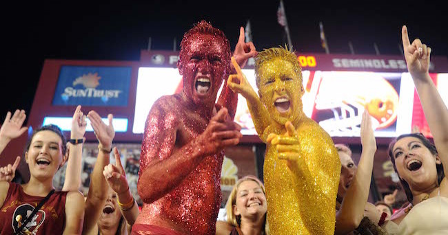 Sep 20, 2014; Tallahassee, FL, USA; Florida State Seminoles fans celebrate an overtime win against the Clemson Tigers at Doak Campbell Stadium. Mandatory Credit: Melina Vastola-USA TODAY Sports