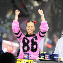 Oct 4, 2014; Oxford, MS, USA; Chris Fowler and Katy Perry and Lee Corso of ESPN College Gameday prior to the Mississippi Rebels game against the Alabama Crimson Tide at Vaught-Hemingway Stadium. Mandatory Credit: Christopher Hanewinckel-USA TODAY Sports