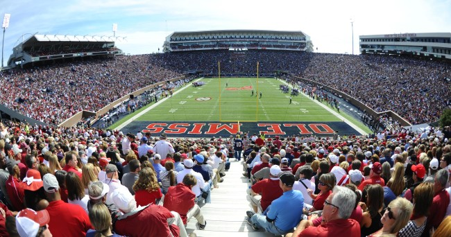 Oct 4, 2014; Oxford, MS, USA; General view of Vaught-Hemingway Stadium during the first half of the Mississippi Rebels game against Alabama Crimson Tide at Vaught-Hemingway Stadium. Mandatory Credit: Christopher Hanewinckel-USA TODAY Sports