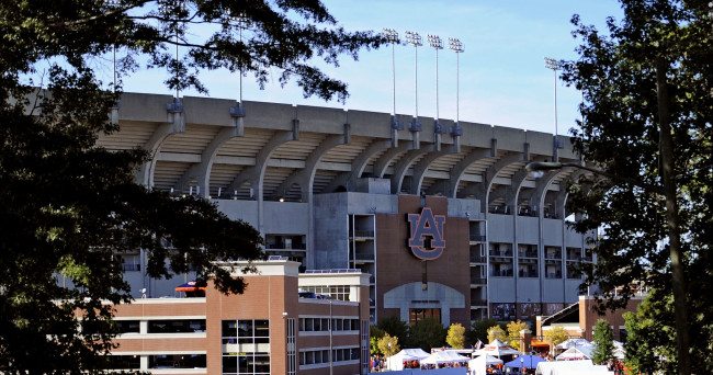 Oct 4, 2014; Auburn, AL, USA; General view of the stadium's exterior prior to the game between the Auburn Tigers and the LSU Tigers at Jordan Hare Stadium. Mandatory Credit: Shanna Lockwood-USA TODAY Sports
