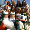 Oct 11, 2014; Pasadena, CA, USA; Oregon Ducks cheerleaders and mascot Puddles pose during the game against the UCLA Bruins at Rose Bowl. Oregon defeated UCLA 42-30. Mandatory Credit: Kirby Lee-USA TODAY Sports