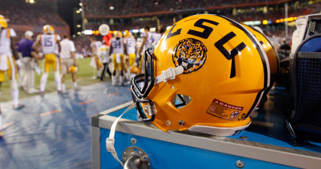 Oct 11, 2014; Gainesville, FL, USA; LSU Tigers helmet lays on the sidelines against the Florida Gators during the second half at Ben Hill Griffin Stadium. LSU Tigers defeated the Florida Gators 30-27. Mandatory Credit: Kim Klement-USA TODAY Sports