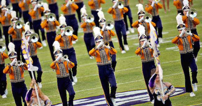 Oct 25, 2014; Baton Rouge, LA, USA; LSU Tigers Golden Band from Tigerland performs prior to kickoff against the Mississippi Rebels at Tiger Stadium. LSU defeated Mississippi 10-7. Mandatory Credit: Crystal LoGiudice-USA TODAY Sports