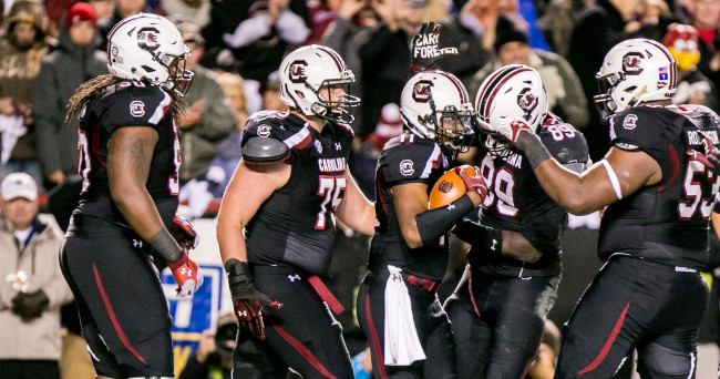 Nov 1, 2014; Columbia, SC, USA; South Carolina Gamecocks wide receiver Pharoh Cooper (11) is congratulated for a touchdown against the Tennessee Volunteers in the first quarter at Williams-Brice Stadium. Mandatory Credit: Jeff Blake-USA TODAY Sports