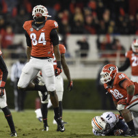 Nov 15, 2014; Athens, GA, USA; Georgia Bulldogs linebacker Leonard Floyd (84) reacts after sacking Auburn Tigers quarterback Nick Marshall (14) during the second half at Sanford Stadium. Georgia defeated Auburn 34-7. Mandatory Credit: Dale Zanine-USA TODAY Sports