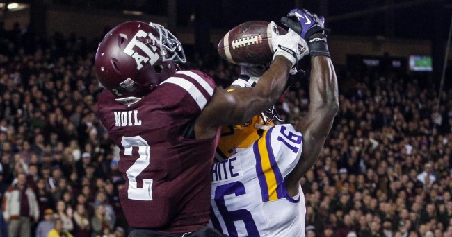 Nov 27, 2014; College Station, TX, USA; Texas A&M Aggies wide receiver Speedy Noil (2) makes a touchdown reception during the fourth quarter as LSU Tigers defensive back Tre'Davious White (16) defends at Kyle Field. Mandatory Credit: Troy Taormina-USA TODAY Sports