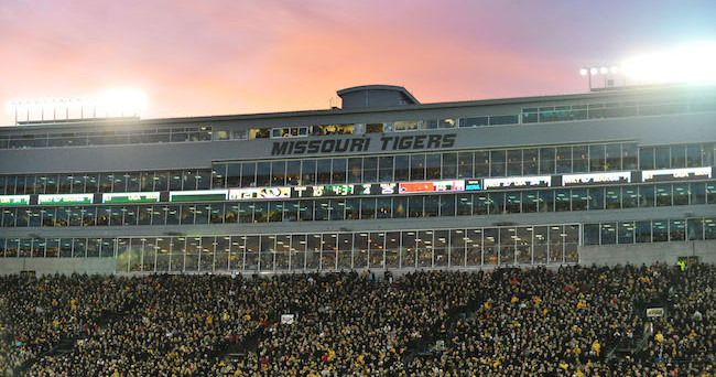 Nov 28, 2014; Columbia, MO, USA; A general view of the press box during the second half of the game between the Missouri Tigers and Arkansas Razorbacks at Faurot Field. Missouri won 21-14. Mandatory Credit: Denny Medley-USA TODAY Sports