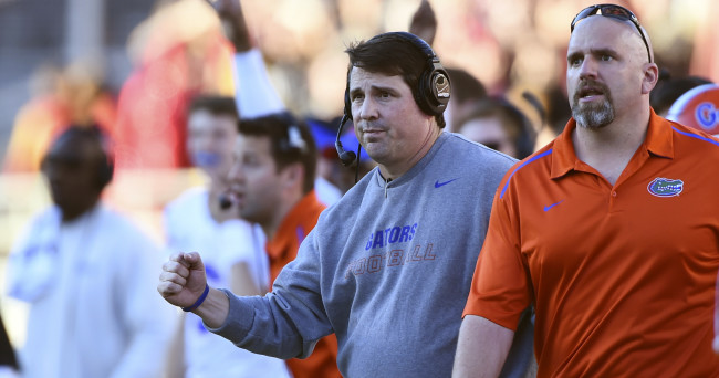 Nov 29, 2014; Tallahassee, FL, USA; Florida Gators head coach Will Muschamp celebrates after the third field goal during the first quarter against the Florida State Seminoles at Doak Campbell Stadium. Mandatory Credit: Tommy Gilligan-USA TODAY Sports