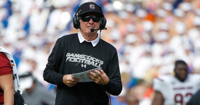 Nov 15, 2014; Gainesville, FL, USA; South Carolina Gamecocks head coach Steve Spurrier reacts against the Florida Gators during the second half at Ben Hill Griffin Stadium. South Carolina Gamecocks defeated the Florida Gators 23-20 in overtime. Mandatory Credit: Kim Klement-USA TODAY Sports