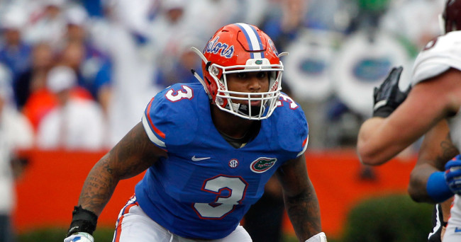 Nov 22, 2014; Gainesville, FL, USA; Florida Gators linebacker Antonio Morrison (3) rushes against the Eastern Kentucky Colonels during the first quarter at Ben Hill Griffin Stadium. Mandatory Credit: Kim Klement-USA TODAY Sports