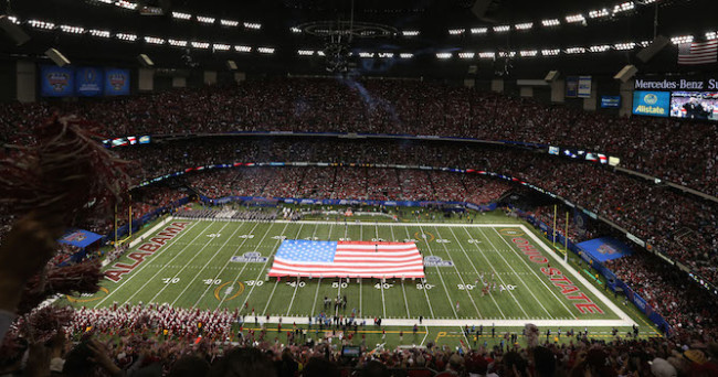 Jan 1, 2015; New Orleans, LA, USA; A general view of the  Mercedes-Benz Superdome before the 2015 Sugar Bowl between the Ohio State Buckeyes and the Alabama Crimson Tide. Mandatory Credit: Chuck Cook-USA TODAY Sports