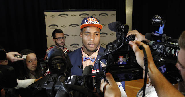 Feb 4, 2015; Seffner, FL, USA; Armwood High School  defensive end Byron Cowart tells the media his decision to go to Auburn University at a press conference at Armwood High School. Mandatory Credit: Kim Klement-USA TODAY Sports