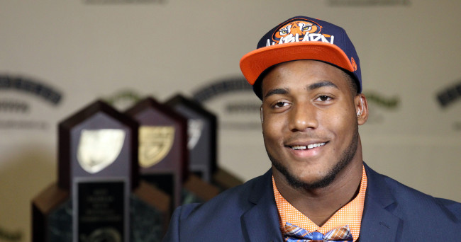 Feb 4, 2015; Seffner, FL, USA; Armwood High School defensive end Byron Cowart talks to ESPN about his decision to go to Auburn on National Signing day at Armwood High School. Mandatory Credit: Kim Klement-USA TODAY Sports
