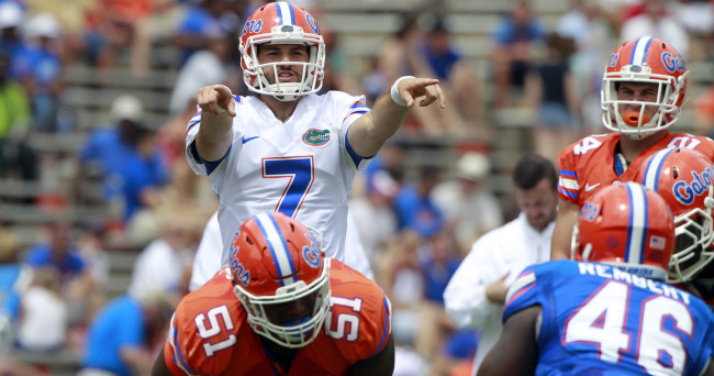 Apr 11, 2015; Gainesville, FL, USA; Florida Gators quarterback Will Grier (7) points during the second half at the Orange and Blue Debut at Ben Hill Griffin Stadium. Orange defeated Blue 31-6. Mandatory Credit: Kim Klement-USA TODAY Sports