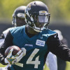 Jun 16, 2015; Jacksonville, FL, USA; Jacksonville Jaguars running back T.J. Yeldon (24) runs during minicamp at the Florida Blue Health and Wellness Practice Fields. Mandatory Credit: Phil Sears-USA TODAY Sports