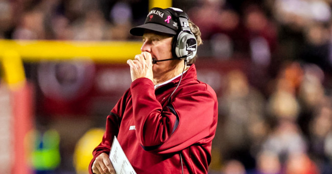 Nov 30, 2013; Columbia, SC, USA; South Carolina Gamecocks head coach Steve Spurrier directs his team against the Clemson Tigers in the second quarter at Williams-Brice Stadium. Mandatory Credit: Jeff Blake-USA TODAY Sports