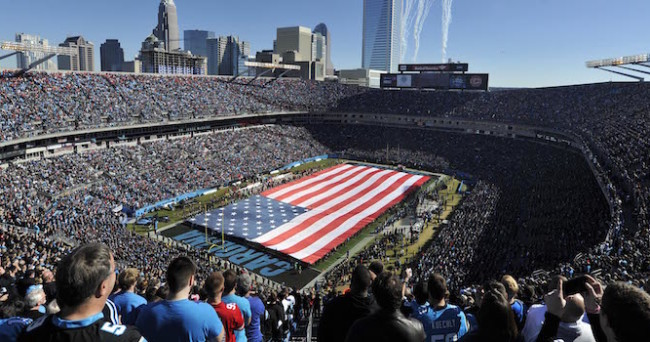 Jan 12, 2014; Charlotte, NC, USA; General view of the National Anthem prior to the 2013 NFC divisional playoff football game between the Carolina Panthers and the San Francisco 49ers at Bank of America Stadium. Mandatory Credit: Angie Walton-USA TODAY Sports