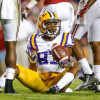 Nov 8, 2014; Baton Rouge, LA, USA; LSU Tigers wide receiver Travin Dural (83) reacts after an incomplete pass against the Alabama Crimson Tide during the second quarter of a game at Tiger Stadium. Mandatory Credit: Derick E. Hingle-USA TODAY Sports
