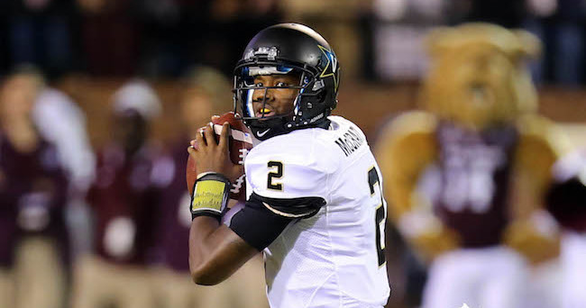 Nov 22, 2014; Starkville, MS, USA; Vanderbilt Commodores quarterback Johnny McCrary (2) drops back to pass the ball during the game against the Mississippi State Bulldogs at Davis Wade Stadium. Mandatory Credit: Spruce Derden-USA TODAY Sports