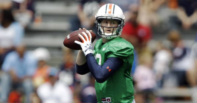 Apr 18, 2015; Auburn, AL, USA; Auburn Tigers quarterback Sean White (13) drops back to pass during the A-Day game at Jordan-Hare Stadium. Mandatory Credit: John Reed-USA TODAY Sports