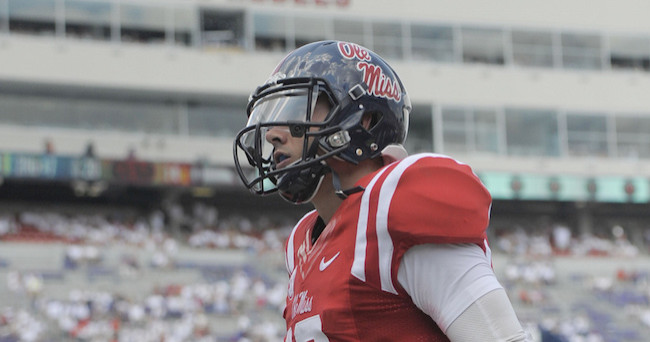Sep 5, 2015; Oxford, MS, USA; Mississippi Rebels quarterback Chad Kelly (10) during the game against the Tennessee Martin Skyhawks at Vaught-Hemingway Stadium. The Rebels won 76 -  3.Mandatory Credit: Justin Ford-USA TODAY Sports