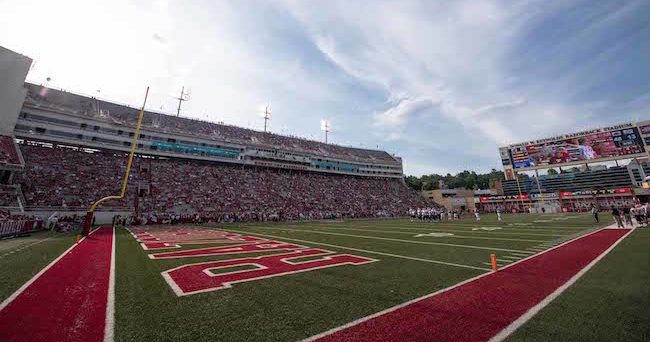 Sep 5, 2015; Fayetteville, AR, USA; A general view of the field during the game between the Arkansas Razorbacks and the UTEP Miners at Donald W. Reynolds Razorback Stadium. The Razorbacks defeat the Miners 48-13. Mandatory Credit: Jerome Miron-USA TODAY Sports