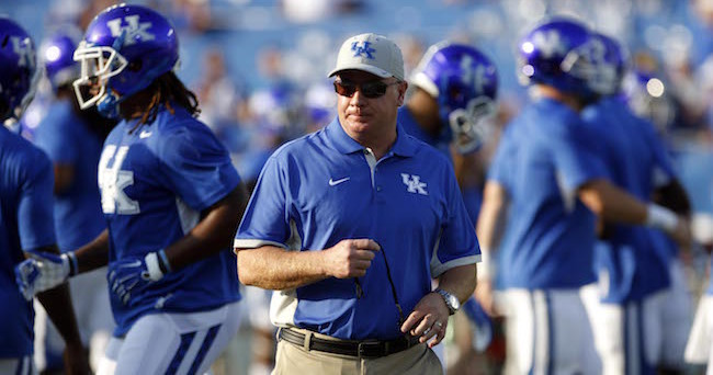 Sep 5, 2015; Lexington, KY, USA; Kentucky Wildcats head coach Mark Stoops before the game against the Louisiana Lafayette Ragin Cajuns at Commonwealth Stadium. Kentucky defeated Louisiana Lafayette 40-33. Mandatory Credit: Mark Zerof-USA TODAY Sports