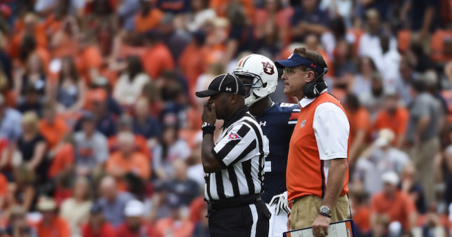 Sep 12, 2015; Auburn, AL, USA; Auburn Tigers head coach Gus Malzahn looks on during the third quarter against the Jacksonville State Gamecocks at Jordan Hare Stadium. Mandatory Credit: Shanna Lockwood-USA TODAY Sports