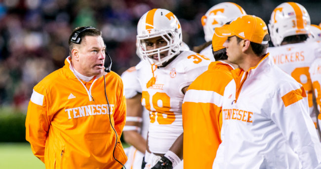 Nov 1, 2014; Columbia, SC, USA; Tennessee Volunteers head coach Butch Jones directs his team against the South Carolina Gamecocks in the second half at Williams-Brice Stadium. Mandatory Credit: Jeff Blake-USA TODAY Sports