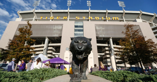 Nov 8, 2014; Baton Rouge, LA, USA; A general view outside Tiger Stadium before a game between the LSU Tigers and the Alabama Crimson Tide at Tiger Stadium. Mandatory Credit: Derick E. Hingle-USA TODAY Sports