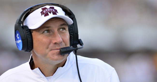 Sep 19, 2015; Starkville, MS, USA; Mississippi State Bulldogs head coach Dan Mullen looks at the scoreboard during the second half of the game against the Northwestern State Demons at Davis Wade Stadium. Mississippi State won 62-13.  Mandatory Credit: Matt Bush-USA TODAY Sports