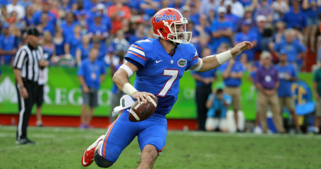 Sep 26, 2015; Gainesville, FL, USA; Florida Gators quarterback Will Grier (7) runs out of the pocket against the Tennessee Volunteers during the second half at Ben Hill Griffin Stadium. Florida Gators defeated the Tennessee Volunteers 28-27. Mandatory Credit: Kim Klement-USA TODAY Sports