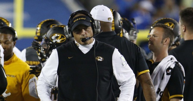 Sep 26, 2015; Lexington, KY, USA; Missouri Tigers head coach Gary Pinkel coaches his team during the game against the Kentucky Wildcats in the first half at Commonwealth Stadium. Mandatory Credit: Mark Zerof-USA TODAY Sports