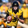 Oct 3, 2015; Columbia, MO, USA; Missouri Tigers quarterback Drew Lock (3) looks up field against the South Carolina Gamecocks during the first half at Faurot Field. Mandatory Credit: Jasen Vinlove-USA TODAY Sports