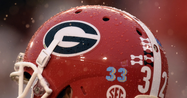 Oct 3, 2015; Athens, GA, USA; General view of a decal for Southern University injured player Devon Gales  on the helmet worn by Georgia Bulldogs punter Collin Barber (32) during the third quarter against the Alabama Crimson Tide at Sanford Stadium. Mandatory Credit: Dale Zanine-USA TODAY Sports
