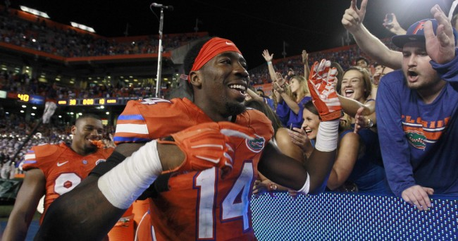 Oct 3, 2015; Gainesville, FL, USA;Florida Gators defensive lineman Alex McCalister (14) high fives fans as they beat the Mississippi Rebels  at Ben Hill Griffin Stadium. Florida Gators defeated the Mississippi Rebels 38-10. Mandatory Credit: Kim Klement-USA TODAY Sports