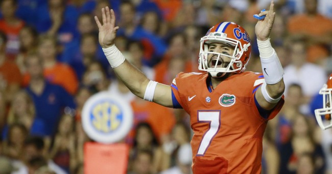Oct 3, 2015; Gainesville, FL, USA; Florida Gators quarterback Will Grier (7) calls a play against the Mississippi Rebels during the first half at Ben Hill Griffin Stadium. Mandatory Credit: Kim Klement-USA TODAY Sports