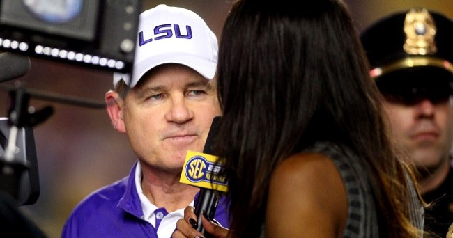 Nov 28, 2015; Baton Rouge, LA, USA; LSU Tigers head coach Les Miles is interview at the end of the first half against the Texas A&M Aggies at Tiger Stadium. Mandatory Credit: Crystal LoGiudice-USA TODAY Sports