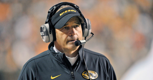 Nov 22, 2014; Knoxville, TN, USA; Missouri Tigers head coach Gary Pinkel on the sideline against the Tennessee Volunteers during the second half at Neyland Stadium. Missouri won 29-21. Mandatory Credit: Jim Brown-USA TODAY Sports