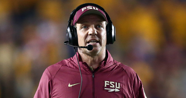 Sep 18, 2015; Boston, MA, USA; Florida State Seminoles head coach Jimbo Fisher watches during the second half of a game against the Boston College Eagles at Alumni Stadium. Mandatory Credit: Mark L. Baer-USA TODAY Sports